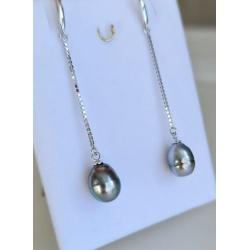 Maria - Boucles d'Oreilles Argent Rhodié et Véritables Perles de Tahiti