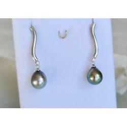 Herenui - Boucles d'Oreilles Argent Rhodié et Véritables Perles de Tahiti
