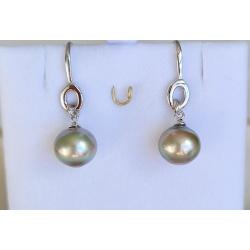 Moenui - Boucles d'Oreilles Argent Rhodié et Véritables Perles de Tahiti