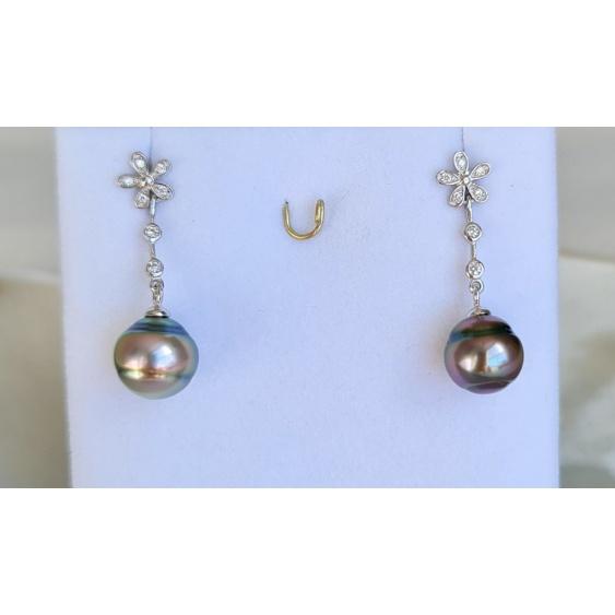 Tiare - Boucles d'Oreilles Argent Rhodié et Véritables Perles de Tahiti
