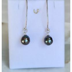Maeva - Boucles d'Oreilles Argent Rhodié et Véritables Perles de Tahiti