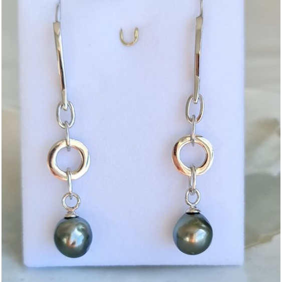 Marutea - Boucles d'Oreilles Argent Rhodié et Véritables Perles de Tahiti