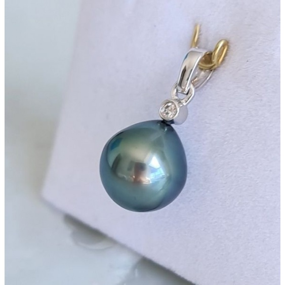 Reine des Mers - Pendentif Or Blanc, Diamant et Véritable Perle de Tahiti