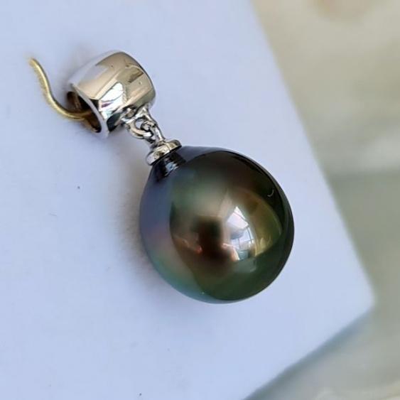 Chic et Sobre - Pendentif Or Blanc 18 carats et Perle de Tahiti