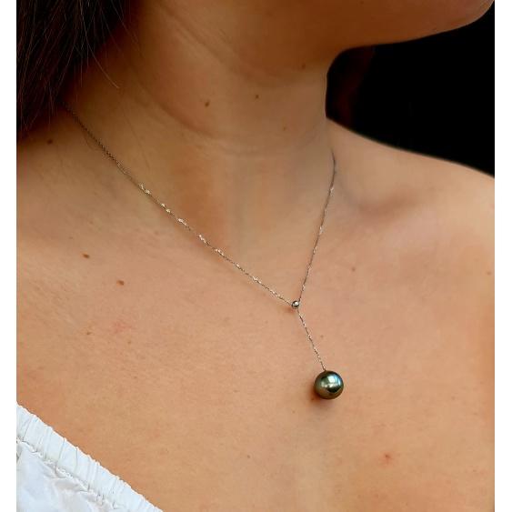 Sublissime - Collier en Or Blanc et Véritable Perle de Tahiti