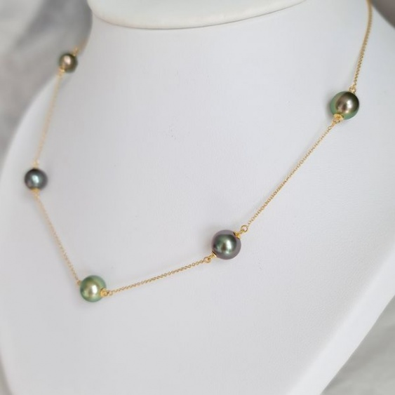 Joyaux des Lagons - Collier en Or Jaune et Véritables Perles de Tahiti