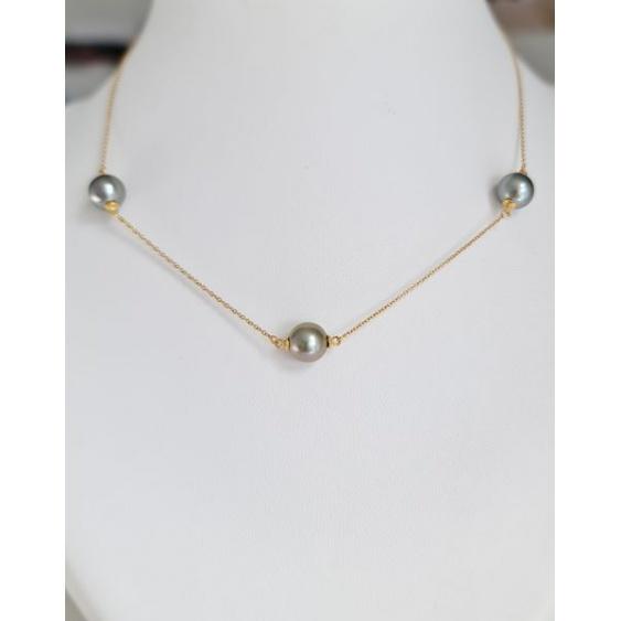 Perles du Lagon Bleu - Collier en Or Jaune et Véritables Perles de Tahiti