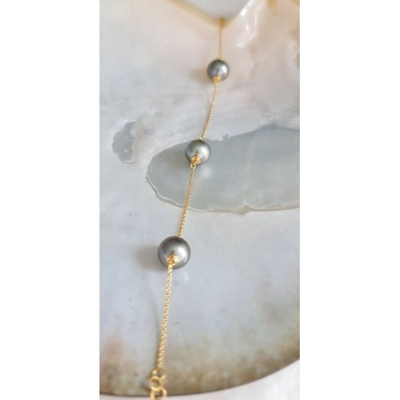 Manuia - Bracelet en Or Jaune et Véritables Perles de Tahiti