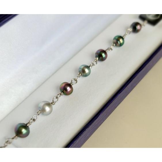 Heitiare - Bracelet Argent et 9 Véritables Perles de Tahiti