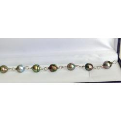Heitiare Nui - Bracelet Argent et 10 Véritables Perles de Tahiti