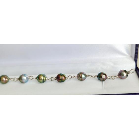 Heitiare Nui - Bracelet Argent et 9 Véritables Perles de Tahiti