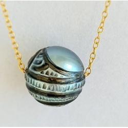 Tetiaroa - Collier Gold filled 14K et Véritable Perle Gravée de Tahiti