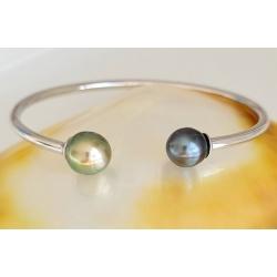 Toi&Moi Rikitea - Bracelet Jonc Argent Rhodié et Perles de Tahiti
