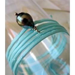 Océane - Bracelet/Collier en Soie et Véritable Perle de Tahiti
