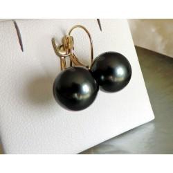Poerava - Boucles d'Oreilles en Or Jaune et Véritables Perles de Tahiti