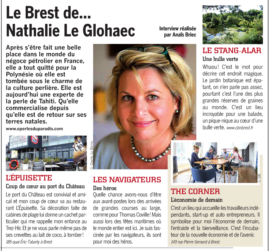 Un portrait de Nathalie Le Gloahec dans Côté Brest, hebdomadaire brestois
