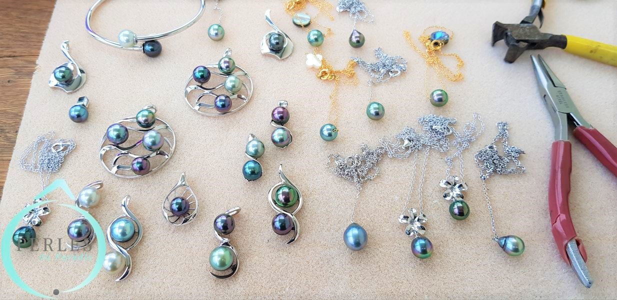 Préparation bijoux en perles de culture de Tahiti